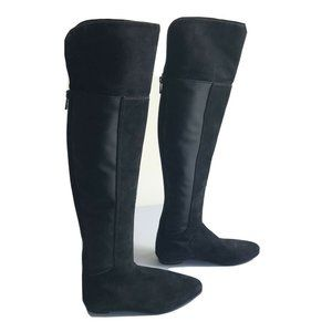 Tory Burch Kevin Black Suede Over The Knee Boots